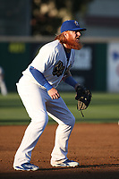 Justin Turner (33) of the Los Angeles Dodgers plays third base for the Rancho Cucamonga Quakes during a rehab game against the Modesto Nuts at LoanMart Field on June 5, 2017 in Rancho Cucamonga, California. Rancho Cucamonga defeated Modesto, 7-5. (Larry Goren/Four Seam Images)