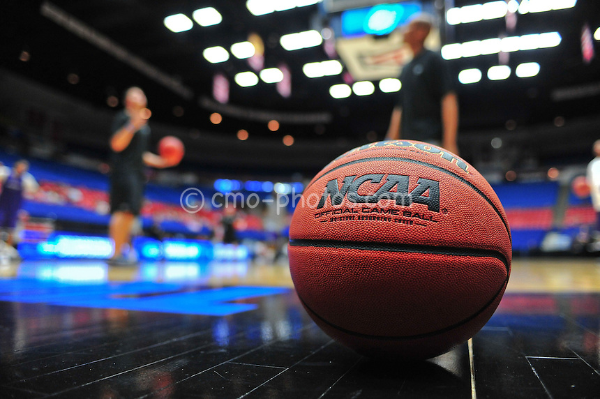 Mar 16, 2011; Tucson, AZ, USA; An official game ball sits courtside during a practice the day before the second round of the 2011 NCAA men's basketball tournament at the McKale Center.