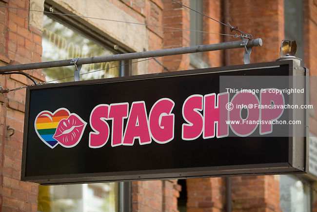 Sexshop Stag Shop sign is pictured in Toronto Church and Wellesley village April 21, 2010. Church and Wellesley is an LGBT-oriented community located in Toronto, Ontario, Canada, roughly bounded by Gerrard Street to the south, Yonge Street to the west, Charles Street to the north, and Jarvis Street to the east, with the core commercial strip located along Church Street from Wellesley south to Alexander.