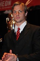 D.C. United midfielder Lance Rozeboom,at the United Kickoff luncheon, at the Marriott hotel in Washington DC, March 5, 2012.