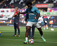 Wilfried Bony of Swansea City warms up during the Premier League match between Swansea City and Watford at The Liberty Stadium, Swansea, Wales, UK. Saturday 23 September 2017