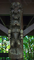 "A carved tiki of Hawaiian god ""KU"" at Hawai'i Tropical Botanical Garden, Onomea, Big Island of Hawaiʻi."