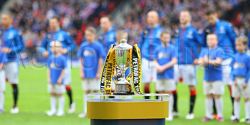 10.04.2016. Hampden Park, Glasgow, Scotland. Petrofac Training Cup Final. Rangers versus Peterhead. The Petrofac Cup on display before the game start