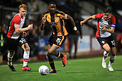3rd October 2017, The Abbey Stadium, Cambridge, England; Football League Trophy Group stage, Cambridge United versus Southampton U21; Emmanuel Osadebe of Cambridge United under pressure from Will Wood and Alfie Jones of Southampton