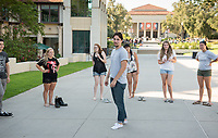 Incoming Occidental College first-year students get to know each other with ice breakers as part of OxyEngage on Aug. 21, 2017.<br /> OxyEngage is a pre-orientation program that introduces incoming students to the vibrant city of Los Angeles. Over two days, upperclassmen facilitators lead trips to experience culture, film, food, nature, social justice, the urban environment, and much more! On an OxyEngage trip you will make fast friends, get to know your surrounding area, and find some stunning places you will want to return to time and time again.<br /> (Photo by Marc Campos, Occidental College Photographer)