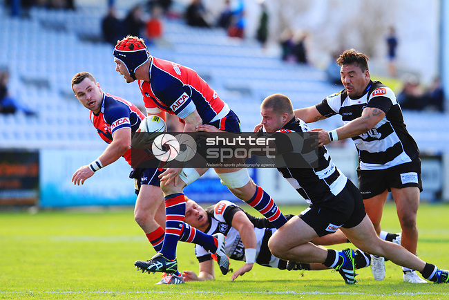 Joe Wheeler in the Tasman Makos vs Hawkes Bay Magpies ITM Cup rugby match held at Lansdowne Park, Blenheim 17th August 2014. Photo Gavin Hadfield / Shuttersport