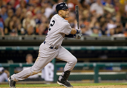 August 07, 2012:  New York Yankees shortstop Derek Jeter (2) at bat during MLB game action between the New York Yankees and the Detroit Tigers at Comerica Park in Detroit, Michigan.  The Tigers defeated the Yankees 6-5.