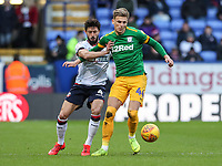 Bolton Wanderers' Jason Lowe competing with Preston North End's Brad Potts  <br /> <br /> Photographer Andrew Kearns/CameraSport<br /> <br /> The EFL Sky Bet Championship - Bolton Wanderers v Preston North End - Saturday 9th February 2019 - University of Bolton Stadium - Bolton<br /> <br /> World Copyright &copy; 2019 CameraSport. All rights reserved. 43 Linden Ave. Countesthorpe. Leicester. England. LE8 5PG - Tel: +44 (0) 116 277 4147 - admin@camerasport.com - www.camerasport.com