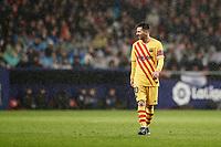 1st December 2019; Wanda Metropolitano Stadium, Madrid, Spain; La Liga Football, Atletico de Madrid versus Barcelona; Lionel Messi (FC Barcelona)  takes up a position for a corner  - Editorial Use
