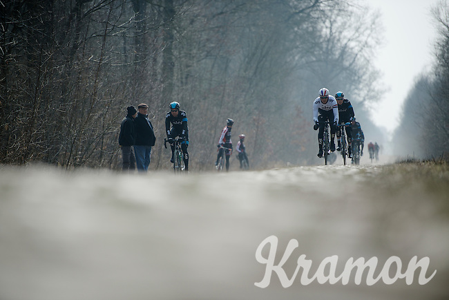 Paris-Roubaix 2013 RECON at Bois de Wallers-Arenberg..Ian Stannard (GBR) leading the SKY-train