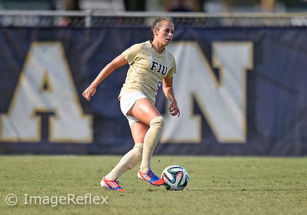 Florida International University women's soccer defender/midfielder Marie Egan (6) plays against the Murray State University on September 5, 2014 at Miami, Florida. FIU won the game 1-0.
