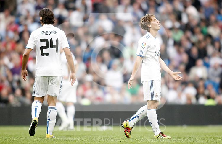 Real Madrid's Sergio Canales reacts dejected during La Liga Match. April 02, 2011. (ALTERPHOTOS/Alvaro Hernandez)
