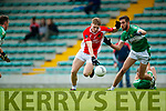 Cian Ó Murchu West Kerry in action against Jack O'Neill Legion in the Quarter Final of the Kerry Senior County Championship at Austin Stack Park on Sunday.
