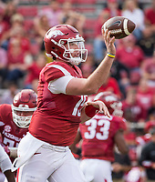 Hawgs Illustrated/BEN GOFF <br /> Cole Kelley, Arkansas quarterback, tosses the ball for a completion to tight end Cheyenne O'Grady in the first quarter against Coastal Carolina Saturday, Nov. 4, 2017, at Reynolds Razorback Stadium in Fayetteville.