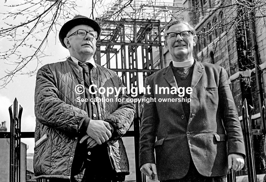Sir John Betjeman, Poet Laureate, on a visit to Belfast, N Ireland, meets the Dean of Belfast, Rev Samuel Crooks, outside St Anne's Church of Ireland Cathedral. 197204170386a, 386/72..Copyright Image from Victor Patterson, 54 Dorchester Park, Belfast, UK, BT9 6RJ..Tel: +44 28 9066 1296.Mob: +44 7802 353836.Voicemail +44 20 8816 7153.Skype: victorpattersonbelfast.Email: victorpatterson@me.com.Email: victorpatterson@ireland.com (back-up)..IMPORTANT: If you wish to use this image or any other of my images please go to www.victorpatterson.com and click on the Terms & Conditions. Then contact me by email or phone with the reference number(s) of the image(s) concerned.