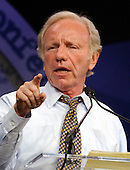 United States Senator Joe Lieberman (Democrat of Connecticut), a candidate for the 2004 Democratic Presidential nomination, speaks at the Service Employees International Union 2003 Political Action Conference in Washington, DC on September 8, 2003..Credit: Ron Sachs / CNP