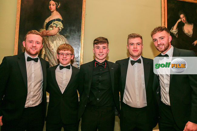 Peader O'Byrne, David Kitt, Darren Loufer, Louis O'Hara and David Mooney all from Castletroy Golf Club during the Golfing Union of Ireland Champions Dinner at Carton House, Maynooth, Co. Kildare. 01/02/2019<br /> Picture: Golffile | Thos Caffrey<br /> <br /> <br /> All photo usage must carry mandatory copyright credit (&copy; Golffile | Thos Caffrey)