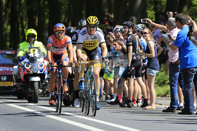 The breakaway group Maarten Tjallingii (NED) Lotto NL-Jumbo, Omar Fraile (ESP) Dimension Data and Giacomo Berlato (ITA) Nippo Vini Fantini, pass Grebbeberg Military Cemetery on the route of Stage 2 of the 2016 Giro d'Italia running 190km from Arnhem to Nijmegen, The Nethrerlands. 7th May 2016.<br /> Picture: Eoin Clarke | Newsfile<br /> <br /> <br /> All photos usage must carry mandatory copyright credit (&copy; Newsfile | Eoin Clarke)