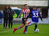Lincoln City's Harry Anderson runs at Crewe Alexandra's Kevin O'Connor<br /> <br /> Photographer Andrew Vaughan/CameraSport<br /> <br /> The EFL Sky Bet League Two - Lincoln City v Crewe Alexandra - Saturday 6th October 2018 - Sincil Bank - Lincoln<br /> <br /> World Copyright &copy; 2018 CameraSport. All rights reserved. 43 Linden Ave. Countesthorpe. Leicester. England. LE8 5PG - Tel: +44 (0) 116 277 4147 - admin@camerasport.com - www.camerasport.com