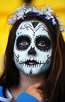 A face-painted fan on day one of the 2016 HSBC Wellington Sevens at Westpac Stadium, Wellington, New Zealand on Saturday, 30 January 2016. Photo: Dave Lintott / lintottphoto.co.nz