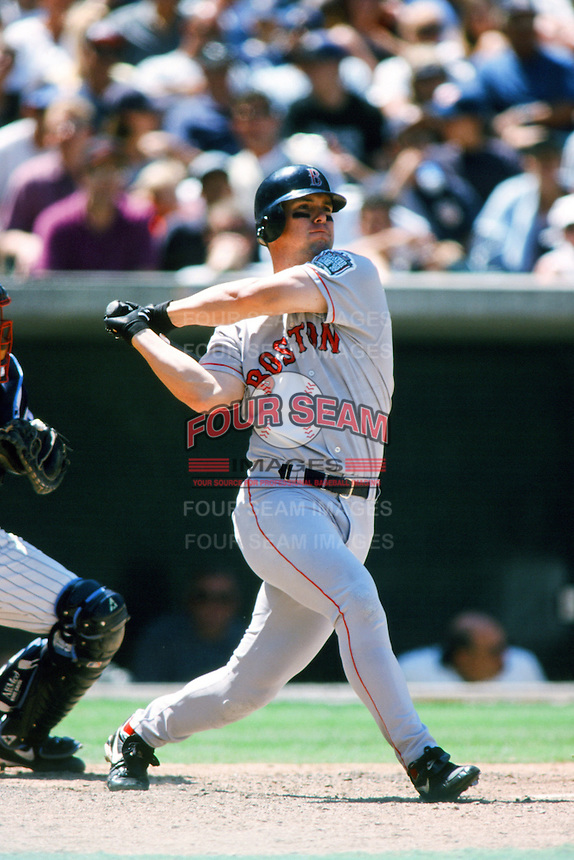 Trot Nixon of the Boston Red Sox bats during a 1999 Major League Baseball season game against the Anaheim Angels in Anaheim, California. (Larry Goren/Four Seam Images)