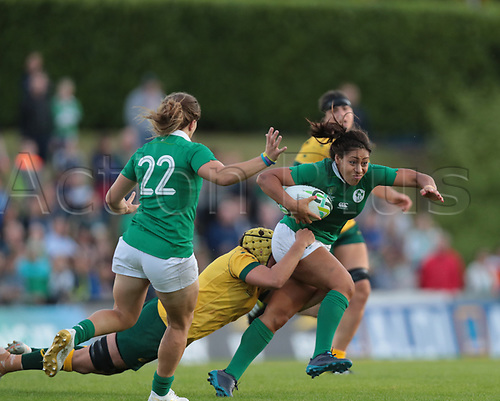 Aug 9th 2017, Dublin, Leinster, Ireland; Women's Rugby World Cup 2017 Group C, Ireland versus Australia;  Sene Naoupu (Ireland) attempts to get away from Shannon Parry (Captain Australia)