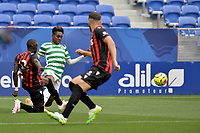 16th July 2020; Nice, France; Veolia Trohy Football friendly, OGC Nice versus Celtic FC;  Hassane Camara Nice tackles Jeremie Frimpomg celtic