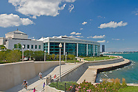 The Chicago Lakefront Bike Trail hugs the shore for much of Chicago's Lake Michigan shoreline and is pictured here in front of the James G. Shedd Aquarium, Chicago, Illinois