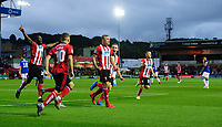 Lincoln City's Harry Anderson, third in from left, celebrates scoring the opening goal with team-mates, from left, John Akinde, Jack Payne, Harry Toffolo and Joe Morrell<br /> <br /> Photographer Chris Vaughan/CameraSport<br /> <br /> The Carabao Cup Second Round - Lincoln City v Everton - Wednesday 28th August 2019 - Sincil Bank - Lincoln<br />  <br /> World Copyright © 2019 CameraSport. All rights reserved. 43 Linden Ave. Countesthorpe. Leicester. England. LE8 5PG - Tel: +44 (0) 116 277 4147 - admin@camerasport.com - www.camerasport.com