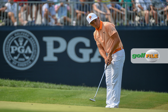 Rickie Fowler (USA) watches his putt on 9 during 4th round of the 100th PGA Championship at Bellerive Country Club, St. Louis, Missouri. 8/12/2018.<br /> Picture: Golffile | Ken Murray<br /> <br /> All photo usage must carry mandatory copyright credit (© Golffile | Ken Murray)