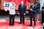 President of the community Cristina Cifuentes and Real Madrid's Sergio Ramos and  president Florentino Perez at Seat of Government in Madrid, May 22, 2017. Spain.<br /> (ALTERPHOTOS/BorjaB.Hojas)