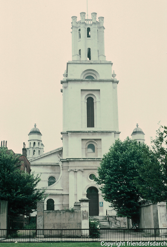 "Nicholas Hawksmoor: St. George-in-the-East, Shadwell, 1714-29. ""Now only a bombed shell"". Photo '90."