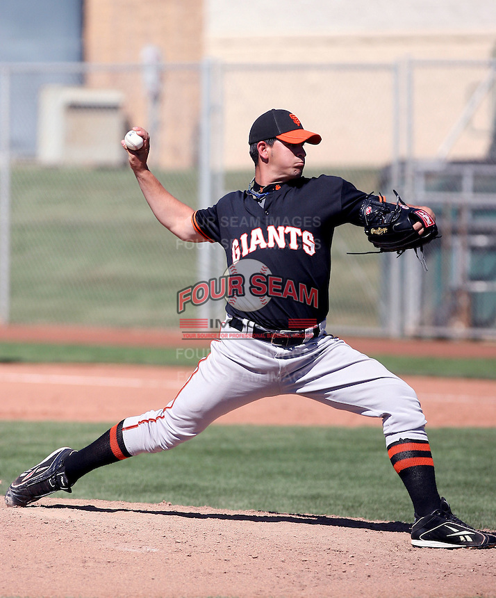 Reinier Roibal #40 of the San Francisco Giants plays in a minor league spring training game against the Colorado Rockies at the Giants minor league complex on March 30, 2011  in Scottsdale, Arizona. .Photo by:  Bill Mitchell/Four Seam Images.