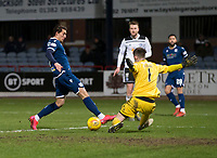 10th March 2020; Dens Park, Dundee, Scotland; Scottish Championship Football, Dundee FC versus Ayr United; Oliver Crankshaw of Dundee comes close to scoring but finds his effort deflected by keeper Doohan of Ayr