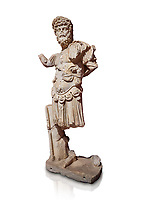Roman statue of Emperor Septimus Severus. Marble. Perge. 2nd century AD. Inv no 3266 . Antalya Archaeology Museum; Turkey. Against a white background.