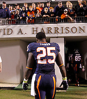 Virginia running back Kevin Parks (25) put his head down as he walked off the field after the 35-22 loss to Duke Saturday at Scott Stadium in Charlottesville, VA.  Photo/Andrew Shurtleff