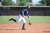 San Diego Padres shortstop Gabriel Arias (13) fields a ground ball during an Instructional League game against the Milwaukee Brewers at Peoria Sports Complex on September 21, 2018 in Peoria, Arizona. (Zachary Lucy/Four Seam Images)