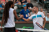 DANIEL EVANS (GBR), DUSTIN BROWN (GER)<br /> <br /> BNP PARIBAS OPEN, INDIAN WELLS, TENNIS GARDEN, INDIAN WELLS, CALIFORNIA, USA<br /> <br /> &copy; TENNIS PHOTO NETWORK