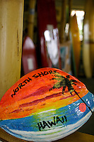 "A coconut colorfully painted with the words """"North Shore Hawaii. Photo taken at the Surfing Museum on Oahu's north shore."