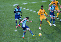 Sam Wood of Wycombe Wanderers hits a shot at goal during the Sky Bet League 2 match between Wycombe Wanderers and Newport County at Adams Park, High Wycombe, England on 2 January 2017. Photo by Andy Rowland.
