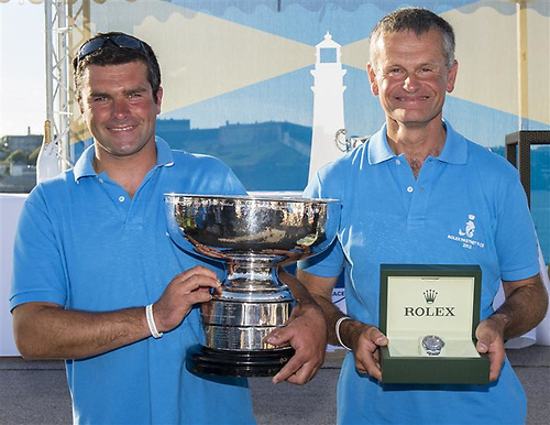 Son and father two-handers Alexis and Pascal Loison with the Fastnet Challenge Cup