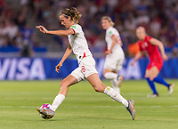 LYON,  - JULY 2: Jill Scott #8 moves upfield during a game between England and USWNT at Stade de Lyon on July 2, 2019 in Lyon, France.