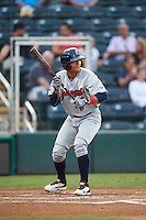 Brevard County Manatees catcher Fidel Pena (18) squares to bunt during a game against the Fort Myers Miracle on April 13, 2016 at Hammond Stadium in Fort Myers, Florida.  Fort Myers defeated Brevard County 3-0.  (Mike Janes/Four Seam Images)