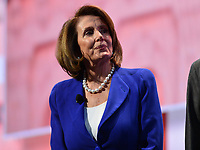 Washington, DC - March 5, 2018: U.S. Representative Nancy Pelosi addresses attendees of the 2018 American Israel Public Affairs Committee (AIPAC) Policy Conference at the Washington Convention Center March 5, 2018.  (Photo by Don Baxter/Media Images International)