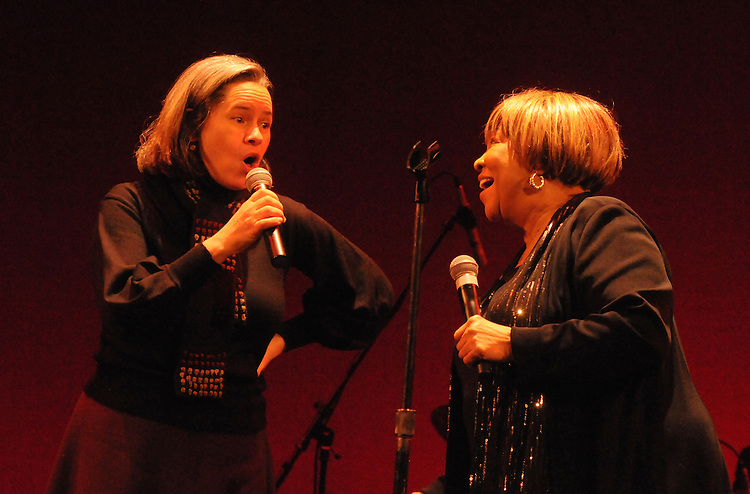 Natalie Merchant singing with, Mavis Staples, during Staples show at the Bardavon Opera House, in Poughkeepsie, NY on Friday, January 20, 2012. Photo by Jim Peppler. Copyright Jim Peppler/2012.