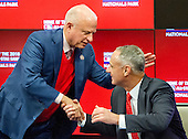 Washington Nationals Principal Owner Mark D. Lerner, left, shakes hands with Commissioner of Baseball Robert D. Manfred Jr. at the announcement of the award of the 2018 MLB All-Star Game to Washington prior to the New York Mets against the Washington Nationals at Nationals Park in Washington, D.C. on Monday, April 6, 2015.<br /> Credit: Ron Sachs / CNP<br /> (RESTRICTION: NO New York or New Jersey Newspapers or newspapers within a 75 mile radius of New York City)