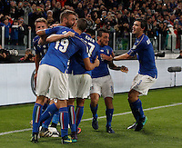 Italy Daniele De Rossi, second from left, celebrates with teammates after scoring the equalizer goal on a penalty kick during the Fifa World Cup 2018 qualification soccer match between Italy and Spain at Turin's Juventus Stadium, October 6, 2016. The game ended 1-1.<br /> UPDATE IMAGES PRESS/Isabella Bonotto