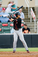 Adrian Marin (6) of the Delmarva Shorebirds at bat against the Kannapolis Intimidators at CMC-Northeast Stadium on August 8, 2013 in Kannapolis, North Carolina.  The Shorebirds defeated the Intimidators 4-3.  (Brian Westerholt/Four Seam Images)