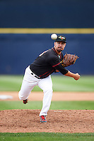 Quad Cities River Bandits relief pitcher Ryan Deemes (16) delivers a pitch during a game against the Burlington Bees on May 9, 2016 at Modern Woodmen Park in Davenport, Iowa.  Quad Cities defeated Burlington 12-4.  (Mike Janes/Four Seam Images)