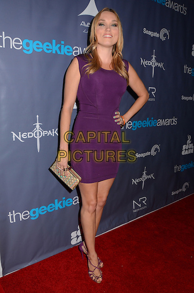 Clare Grant<br /> The first annual Geekie Awards at The Avalon Hollywood in Hollywood, CA., USA.  <br /> August 18th, 2013<br /> full length purple dress hand on hip <br /> CAP/ADM/BT<br /> &copy;Birdie Thompson/AdMedia/Capital Pictures